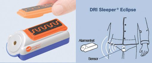 Illustrasjon viser Eclipse sengevætingalarm, enhet og plassering av sensor.